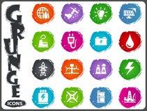Alternative energy icons set in grunge style Stock Image