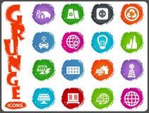 Alternative energy icons set in grunge style Stock Photo