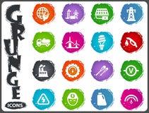 Alternative energy icons set in grunge style Royalty Free Stock Photography
