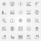 Alternative energy icons. Vector set of renewable energy concept symbols or logo elements in thin line style Royalty Free Stock Images