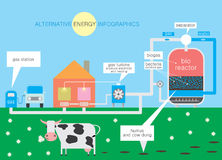 Alternative energy. Infographics about alternative energy through the use of bacteria for the production of biofuels Stock Image