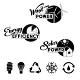 Alternative energy labels and badges: solar power Royalty Free Stock Photo