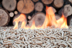 Alternative energy. Pine pellets in flames- selective focus on the heap Royalty Free Stock Photo