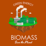 Alternative energy power industry, biomass power station factory electricity on a green grass ecology concept Stock Image