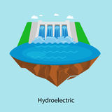 Alternative energy power industry, hydroelectric power station factory electricity on water ecology concept, technology. Of renewable aqua generator station Royalty Free Stock Photo