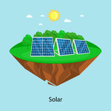Alternative energy power, solar electricity panel field on a green grass ecology concept, technology of renewable sun Stock Photos