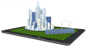 Alternative energy. Solar panel, wind turbine and city Stock Image