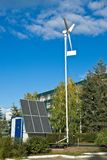 Alternative energy sources. Solar battery and wind blades for reception of energy Royalty Free Stock Photos