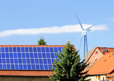 Alternative energy sources in German countryside Royalty Free Stock Photos