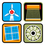 Alternative Energy Sources Icon Set Stock Photography