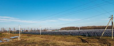 Alternative energy sources. Solar power stations. Outdoors Stock Images