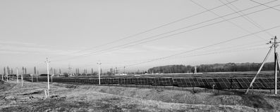 Alternative energy sources. Solar power stations. Outdoors Royalty Free Stock Photography