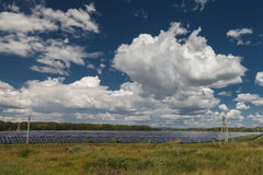 Alternative energy sources. Solar power stations. Outdoors Stock Photos