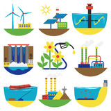 Alternative energy sources vector illustration. Stock Photo