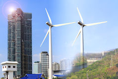Alternative energy sources  windmills. For the city Stock Image