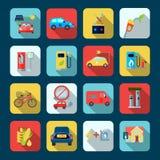 Alternative Energy Square Icons Set Stock Images