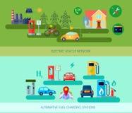 Alternative Energy Vehicles Banners Set. Alternative energy vehicles horizontal banners set with electric car symbols flat  vector illustration Stock Image