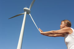 Alternative energy through Wind Turbine Stock Photo