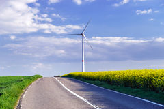Alternative energy with wind turbine. Ecology in Belgium royalty free stock photography