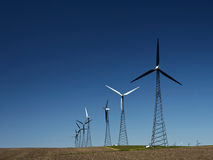 Alternative Energy - Wind turbine generators. Wind farms in early spring stock photography