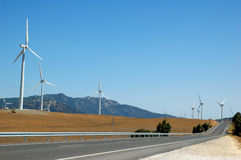 Alternative energy by wind turbines. Near the mediterranean stock photography