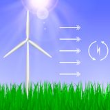 Wind turbines generating electricity stock illustration