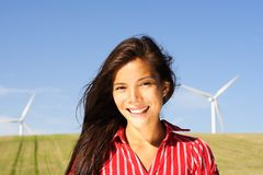 Alternative energy woman Stock Photo