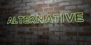 ALTERNATIVE - Enseigne au néon rougeoyant sur le mur de maçonnerie - 3D a rendu l'illustration courante gratuite de redevance Photo libre de droits