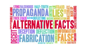 Alternative Facts Animated Word Cloud. On a white background stock footage