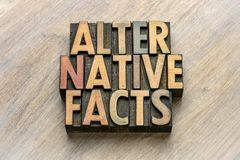 Alternative facts word abstract wood type. Alternative facts word abstract in vintage letterpress wood type stock image