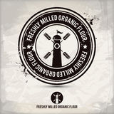Alternative freshly milled organic flour stamp Royalty Free Stock Image