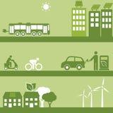 Alternative fuel and solar buildings vector illustration