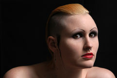 Alternative Girl. Lovely fine art headshot of an alternative/goth woman with a mohawk and piercings Stock Photos