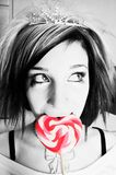 Alternative Girl with a Heart Lollipop Royalty Free Stock Photo