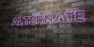 ALTERNATIVE - Glühende Leuchtreklame auf Steinmetzarbeitwand - 3D übertrug freie Illustration der Abgabe auf Lager Lizenzfreie Stockfotos