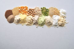 Alternative gluten-free flour, grains and legumes - teff, amaranth, corn, chickpeas, sorghum, green peas, quinoa, rice, coc. Alternative gluten-free flour Stock Photo