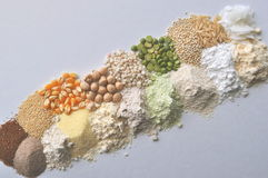 Alternative gluten-free flour, grains and legumes - teff, amaranth, corn, chickpeas, sorghum, green peas, quinoa, rice, coc Stock Photo