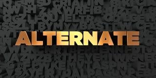 Alternative - Goldtext auf schwarzem Hintergrund - 3D übertrug freies Bild der Abgabe auf Lager Stockfoto