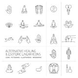 Alternative healing and esoteric linear icons set black on white Stock Image