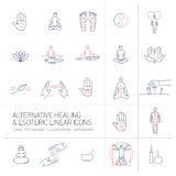 Alternative healing and esoteric linear icons set blue and red Stock Photos