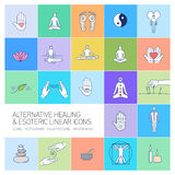 Alternative healing and esoteric linear icons set Stock Images