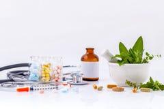 Alternative health care concept. Fresh herbs green mint ,rosemar Royalty Free Stock Image
