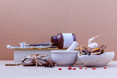 Alternative health care dried various Chinese herbs in the white Royalty Free Stock Photo