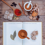 Alternative health care dried various Chinese herbs in  wooden s Royalty Free Stock Photos