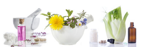 Alternative health care fresh herbal and Bottle of aromatherapy in mortar Stock Photography