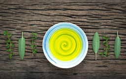 Alternative health care fresh herbal and fragrant oil in  a bowl Stock Images