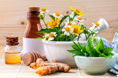 Alternative health care fresh herbal ,honey and wild flower with Royalty Free Stock Image