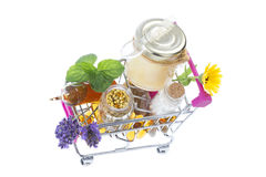 Alternative health care fresh herbal ,honey and wild flower in a supermatket troley Stock Photo