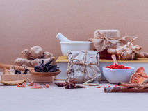 Alternative healthcare dried various Chinese herbs in wooden box Royalty Free Stock Image