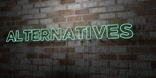 ALTERNATIVE - Insegna al neon d'ardore sulla parete del lavoro in pietra - 3D ha reso l'illustrazione di riserva libera della sov Fotografia Stock